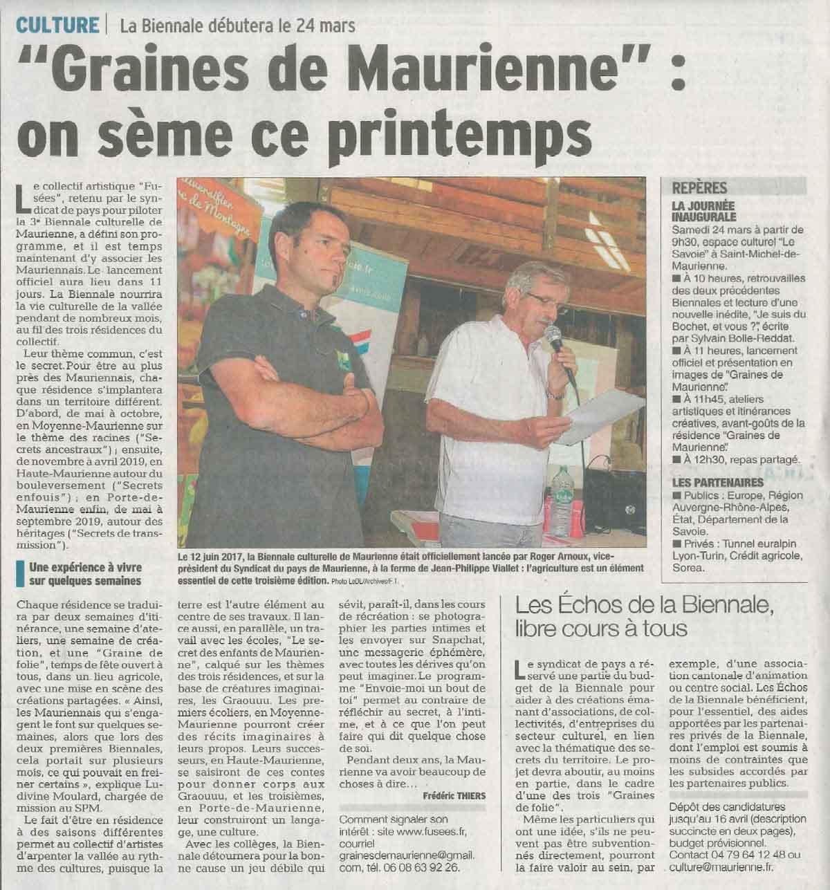 Le Dauphiné libéré graines de maurienne
